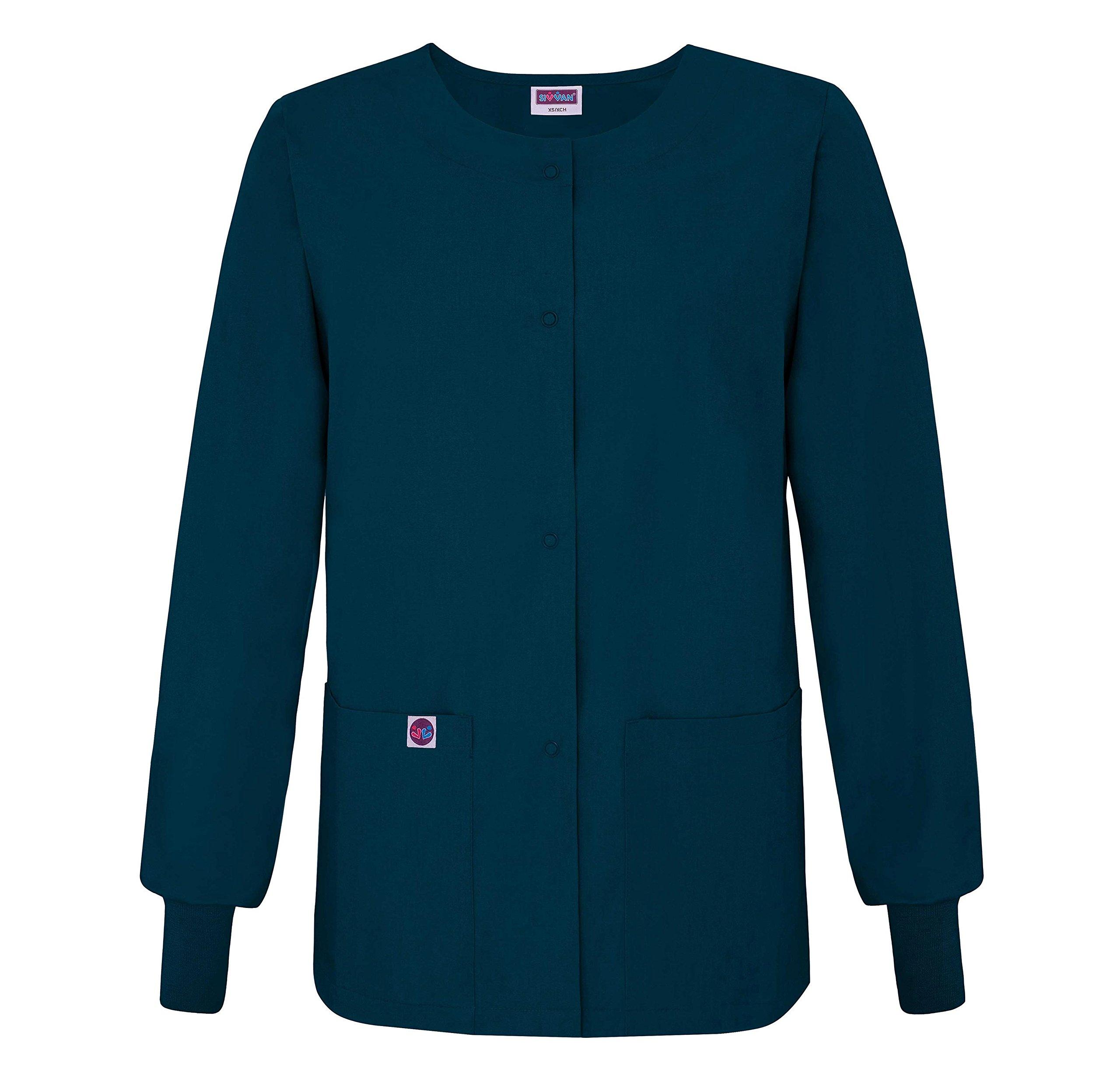 Sivvan Women's Scrub Warm-Up Jacket/Front Snaps - Round Neck - S8306 - Caribbean Blue - XL