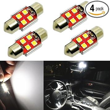2x White Car 31MM Festoon Light Internal Blub Canbus Error Free 9 4014 SMD LED Z