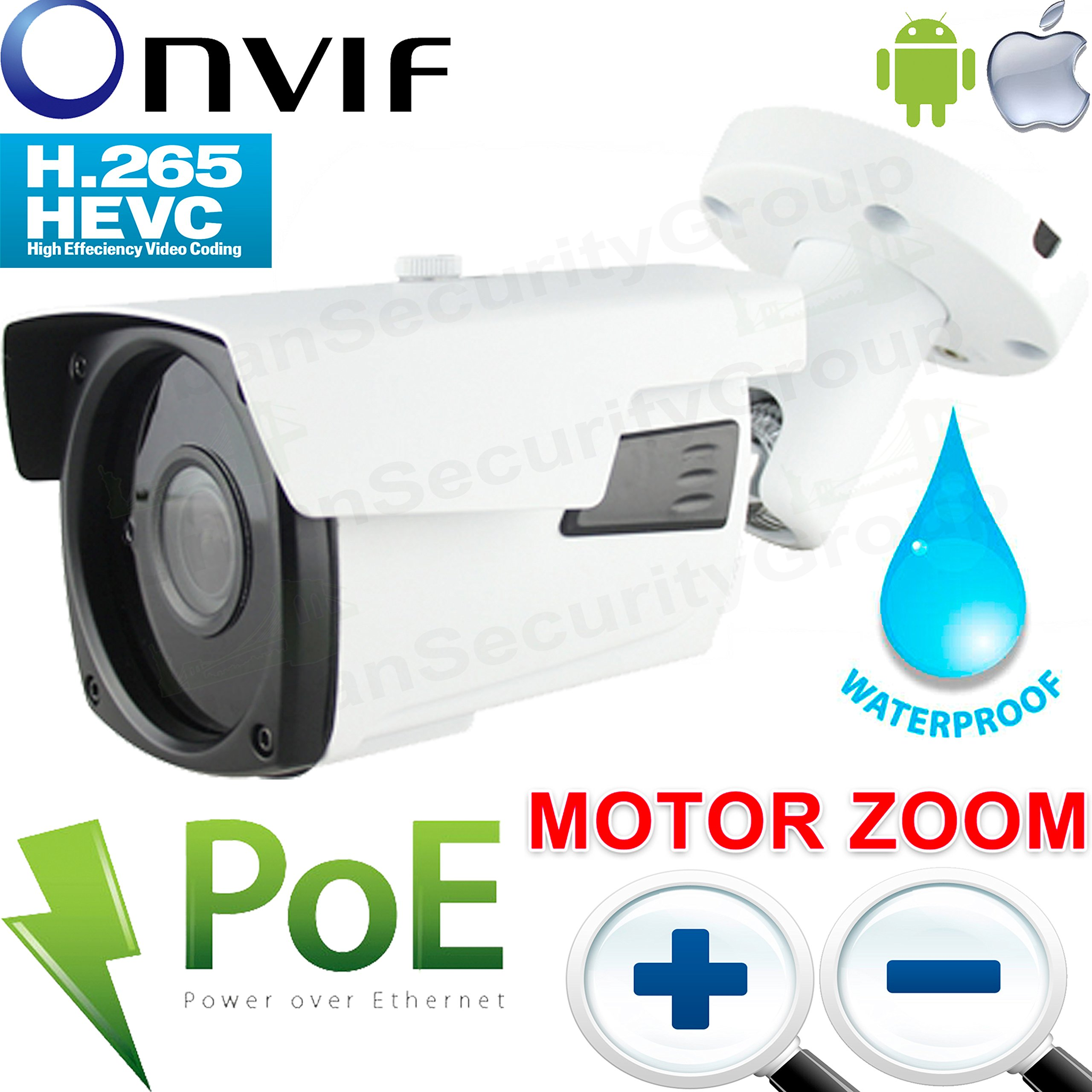 USG Ultra HD 4MP MOTORIZED 2.7-13.5mm 5x Zoom H.265 Ultra HD IP PoE Network Bullet Security Camera : 5MP 2.7-13.5mm Auto-Focus, ONVIF, Weatherproof, IR LEDs 200ft, WDR, Business Grade, Phone App