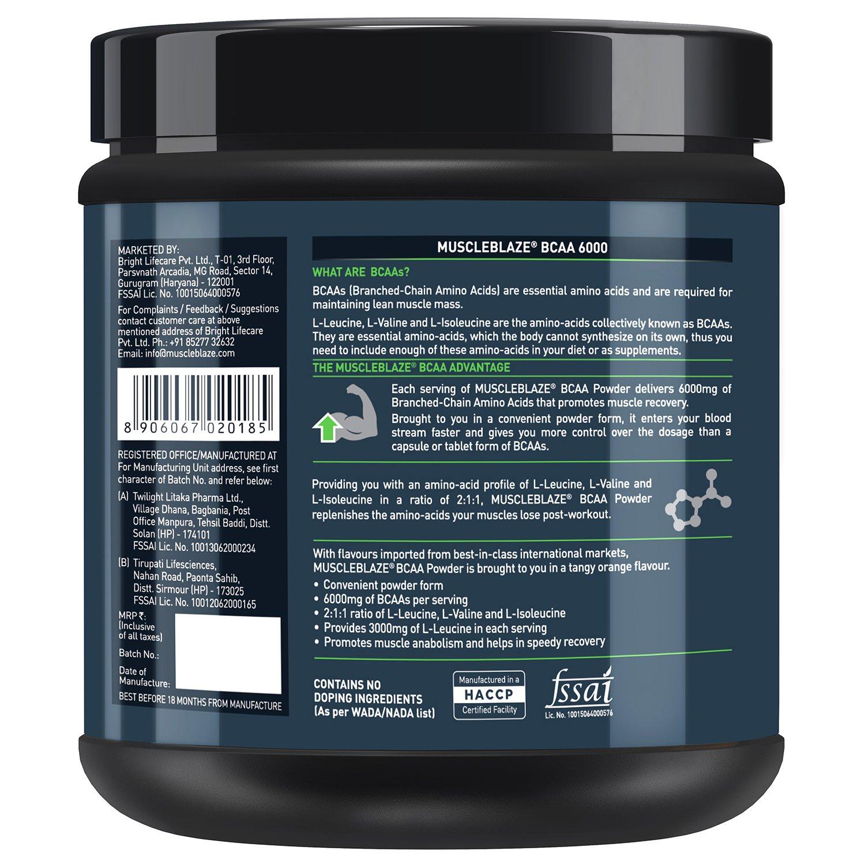 Muscleblaze Bcaa 6000 Amino Acid Powder 088 Lbs 400g 50 Servings Dymatize 500 Tabs Tangy Orange Health Personal Care