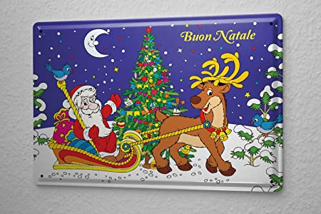 Cartel de chapa Placa metal tin sign Feliz Navidad Santa ...
