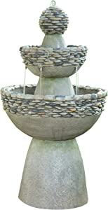 "Peaktop FI0030AA Majestic Zen 3 Tiered Stone Like Floor Waterfall Water Fountain for Outdoor Patio Garden Backyard Decking with Pump, 37"" Height, Gray"
