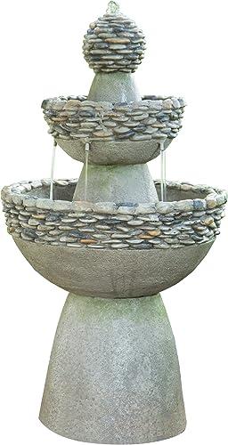 Peaktop Majestic 3 Tiered Stone Look Zen Pedestal Floor Waterfall Fountain