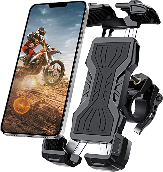 OYES AMUSE New Bike Phone Mount with Stainless Steel Clamp Arms Anti Shake and Stable 360/° Rotation Bike Accessories//Bike Phone Holder for Any Smartphones GPS Other Devices Between 3.5 and 6.5 inches