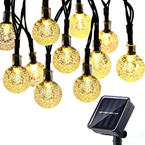 Solar String Light Outdoor Christmas Decorative 50 LED 22.9ft 8 Modes LED Solar Globe String Lights Waterproof Solar Patio Light Powered for Lawn, Garden,Yard,Gazebo,Wedding (Warm White)