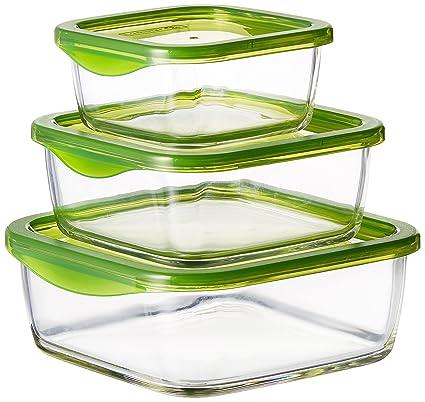 Buy Luminarc Temp Keep N Square Glass Box Set 3 Pieces Green