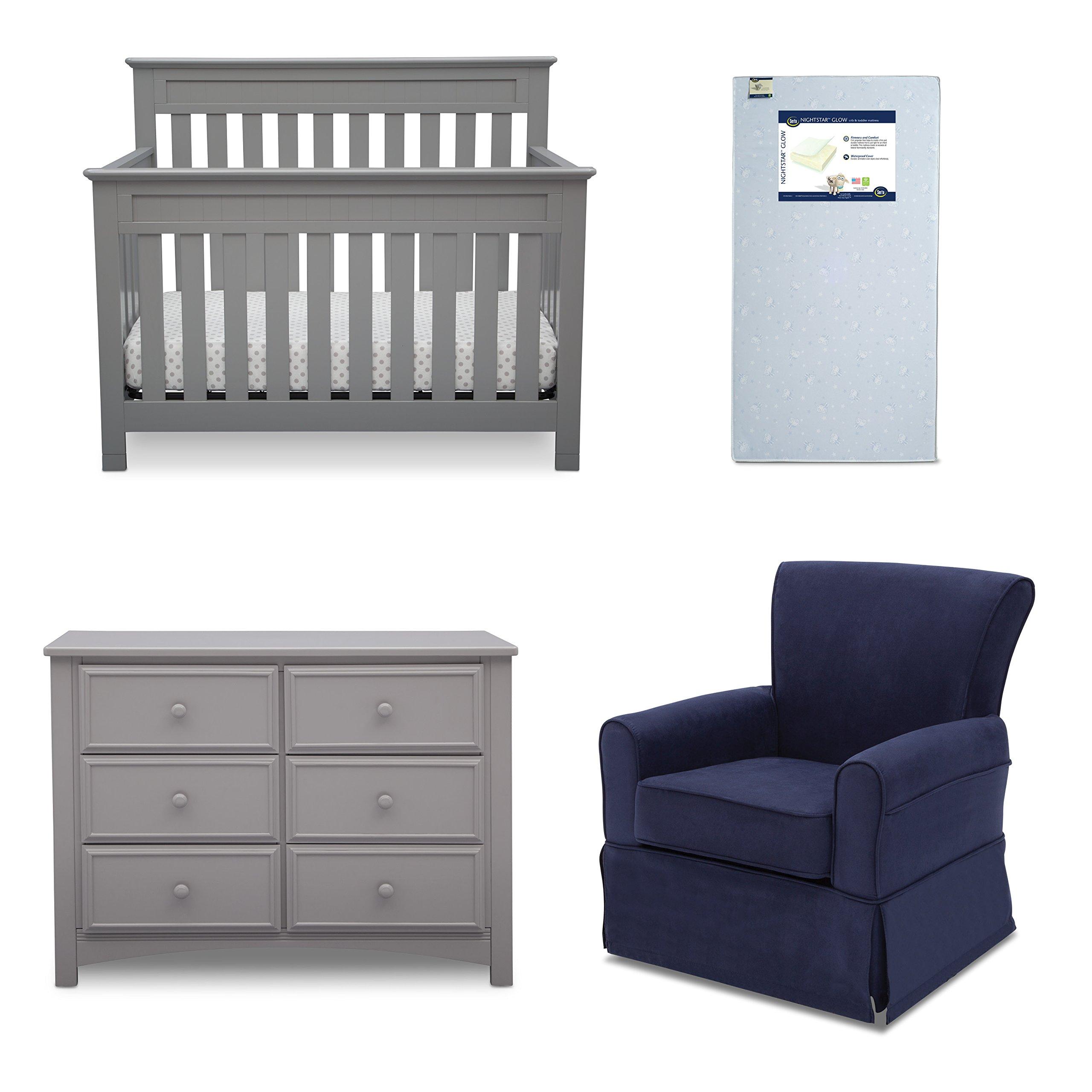 Delta Children Chalet 4-Piece Mix & Match Nursery Furniture Set (Convertible Crib, Dresser, Glider, Crib Mattress), Grey