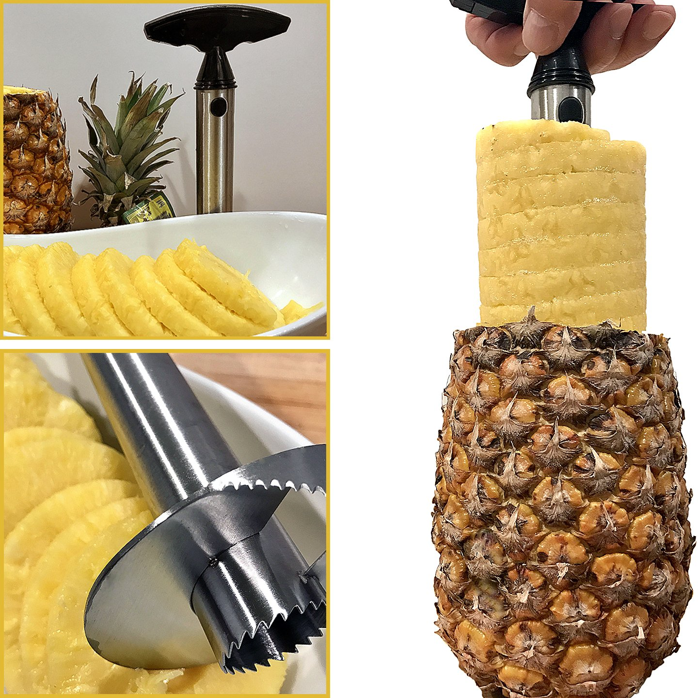 Adorox Stainless Steel Pineapple Fruit Core Slicer Cutter Kitchen Tool Cortador de Piña (Stainless Steel (1 Slicer))