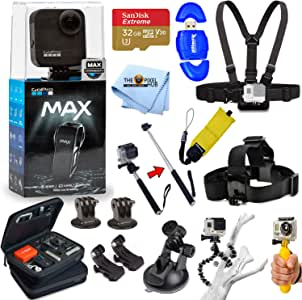 GoPro MAX 360 Action Camera All in 1 PRO Accessory Bundle Includes: Extreme 32GB MicroSD, Head and Chest Strap, Floaty Bobber, Selfie Stick/Monopod, Carry Case and More