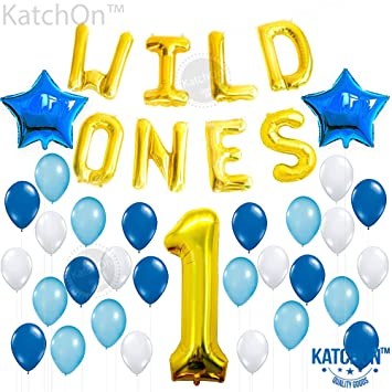 Amazoncom WILD ONES BIRTHDAY DECORATION KIT Blue and White