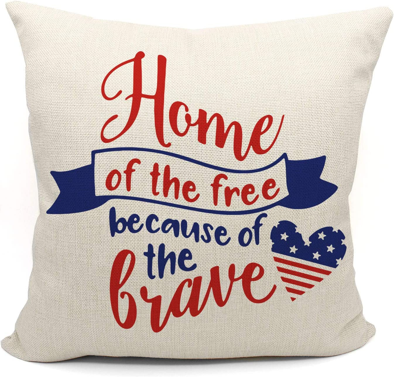 Mancheng-zi Home of The Free Because of The Brave Throw Pillow Case, of July Citizenship Veteran Gift, 18 x 18 Inch Decorative Cotton Linen Cushion Cover for Sofa Couch Bed, America Sign