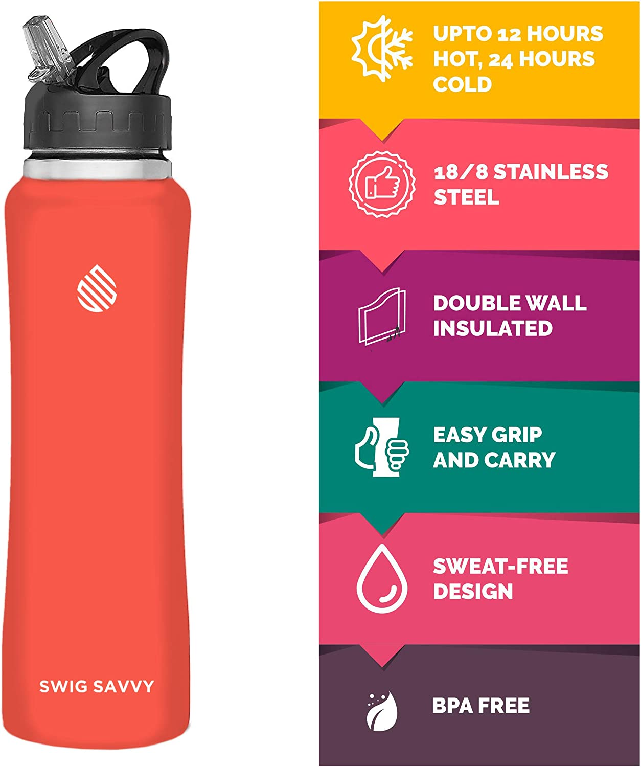 24oz Orange Swig Savvy Stainless Steel Insulated Leak Proof Flip Top Straw Cap Water Bottles with Pouch /& Clip