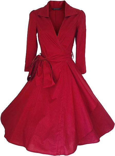Rojo VINTAGE 1524 cm En s para armario de ROCKABILLY/oscilante/PIN UP algodón
