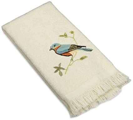 Amazoncom Avanti Linens Gilded Birds Fingertip Towel Ivory Home