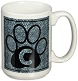 3dRose Letter C Blue Cheetah Print Cat Paw