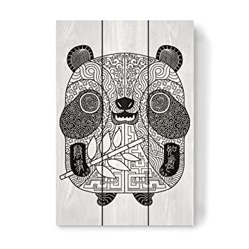 Amazon De Artboxone Holz Mit Tieren Zentangle Panda Von