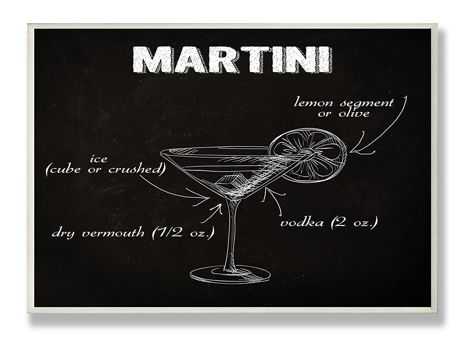 Proudly Made in USA 10 x 0.5 x 15 Stupell Home D/écor B And W Classic Martini Instructions Kitchen Wall Plaque