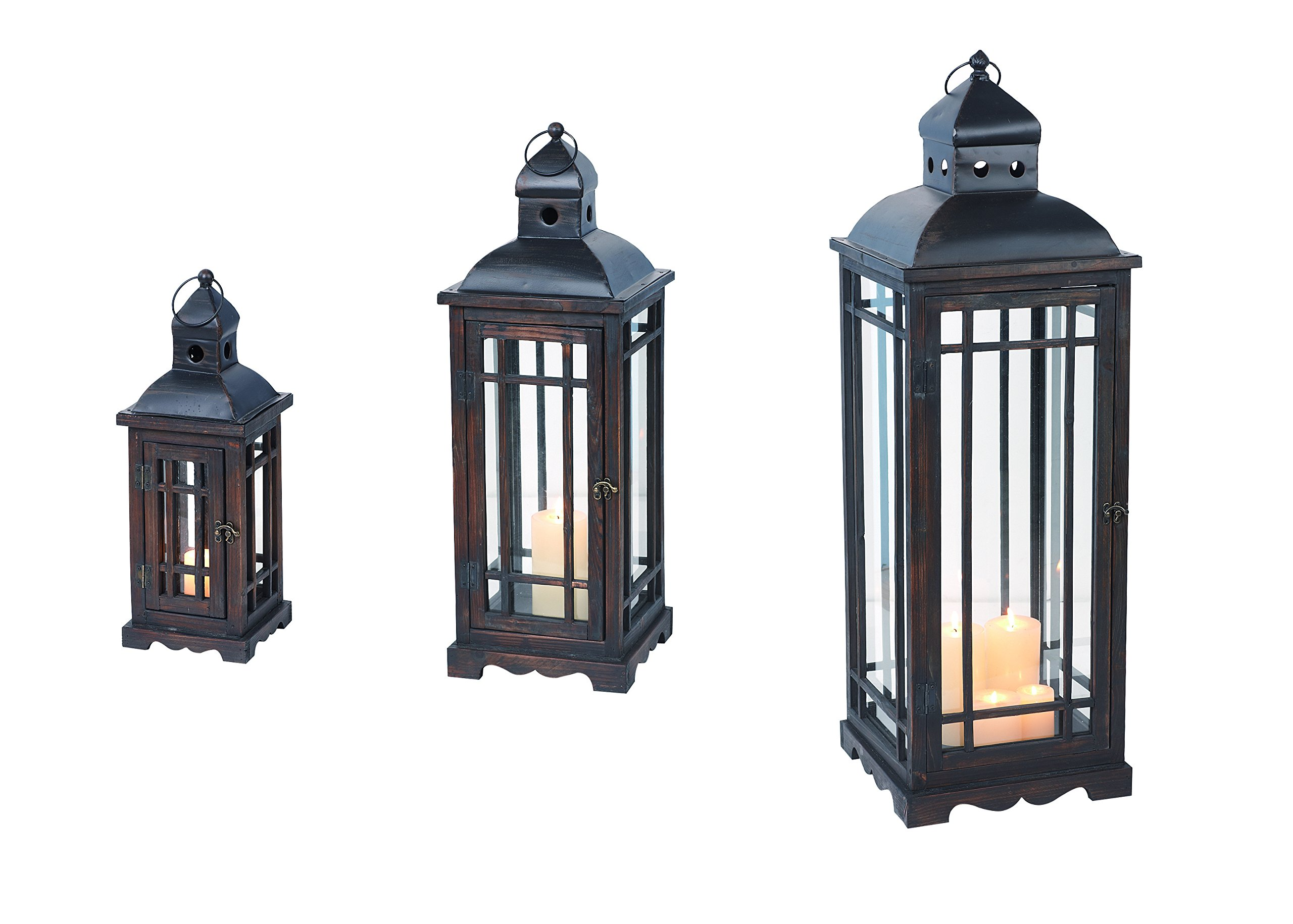 Transpac Home and Garden Wood and Metal Lanterns, Set of 3