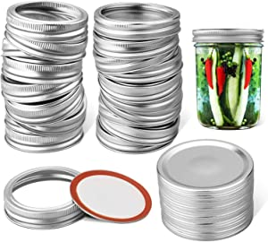 Canning Lids Regular Mouth,20 Pcs Regular Mouth Mason Jar Lids,Split-Type Lids and Rings for Mason Jar Canning(20 Lids+20 Bands) HOUMESO