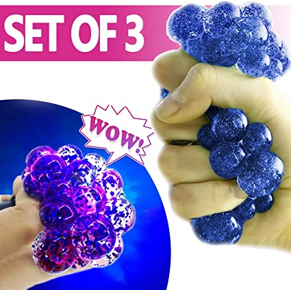 3 Light Up Mesh Balls LED Squishy Grape Squeeze Sensory Fruity  Stress Fidget