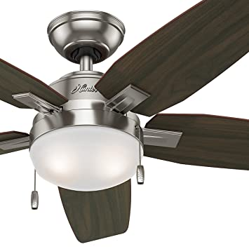 Hunter fan 46 contemporary ceiling fan brushed nickel light kit hunter fan 46quot contemporary ceiling fan brushed nickel light kit 5 blade mozeypictures Choice Image