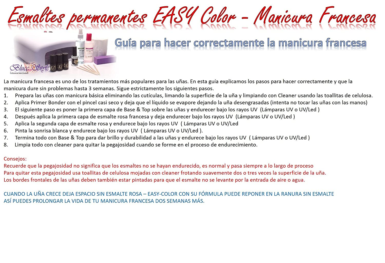 Kit manicura francesa, esmaltes permanentes, uñas de gel, Easy Line, MF4: Amazon.es: Belleza