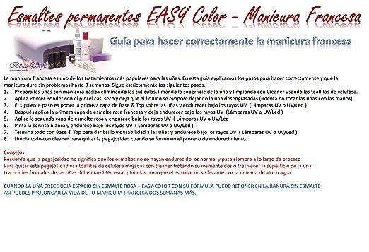Esmaltes Permanentes-Manicura francesa-Easy color uv/uv-led-lampara led, uñas de gel,pedicura: Amazon.es: Belleza