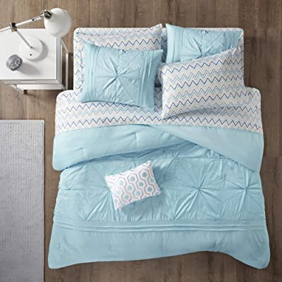 Intelligent Design Toren Comforter Set Queen Size Bed In A Bag - Aqua, Full: Home & Kitchen