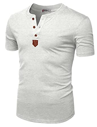 7f8abe065 H2H Mens Casual Colorblock Short Sleeve Henley T-Shirts Heatherwhite US  S/Asia M