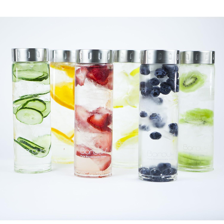 Pure Borosilicate Glass BPA Free Handmade from Eco Friendly Boroux Original Glass Water Bottle 500ml