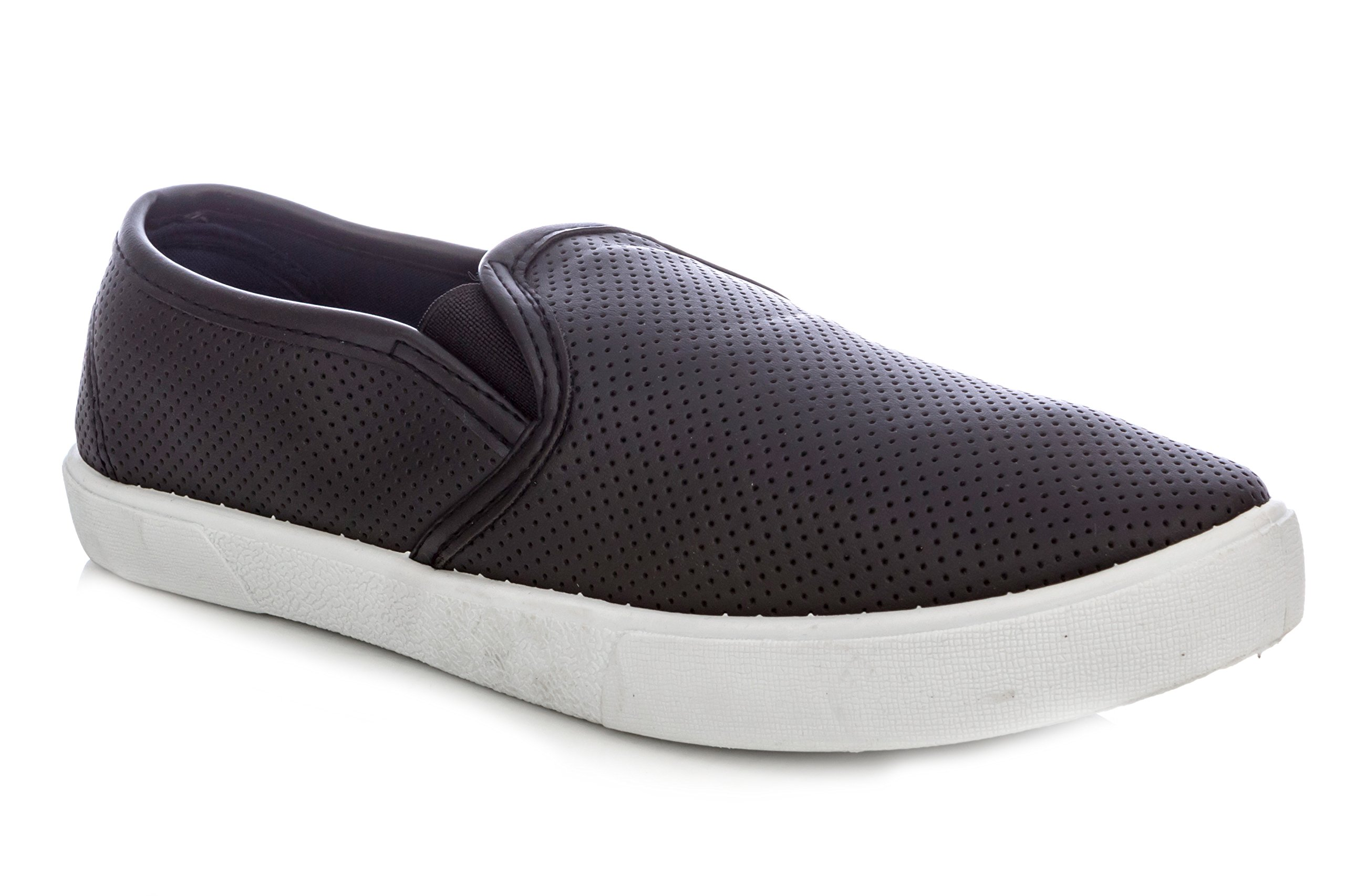 Charles Albert Women's Comfortable Perforated Slip-On Fashion Sneaker in Black Size: 8