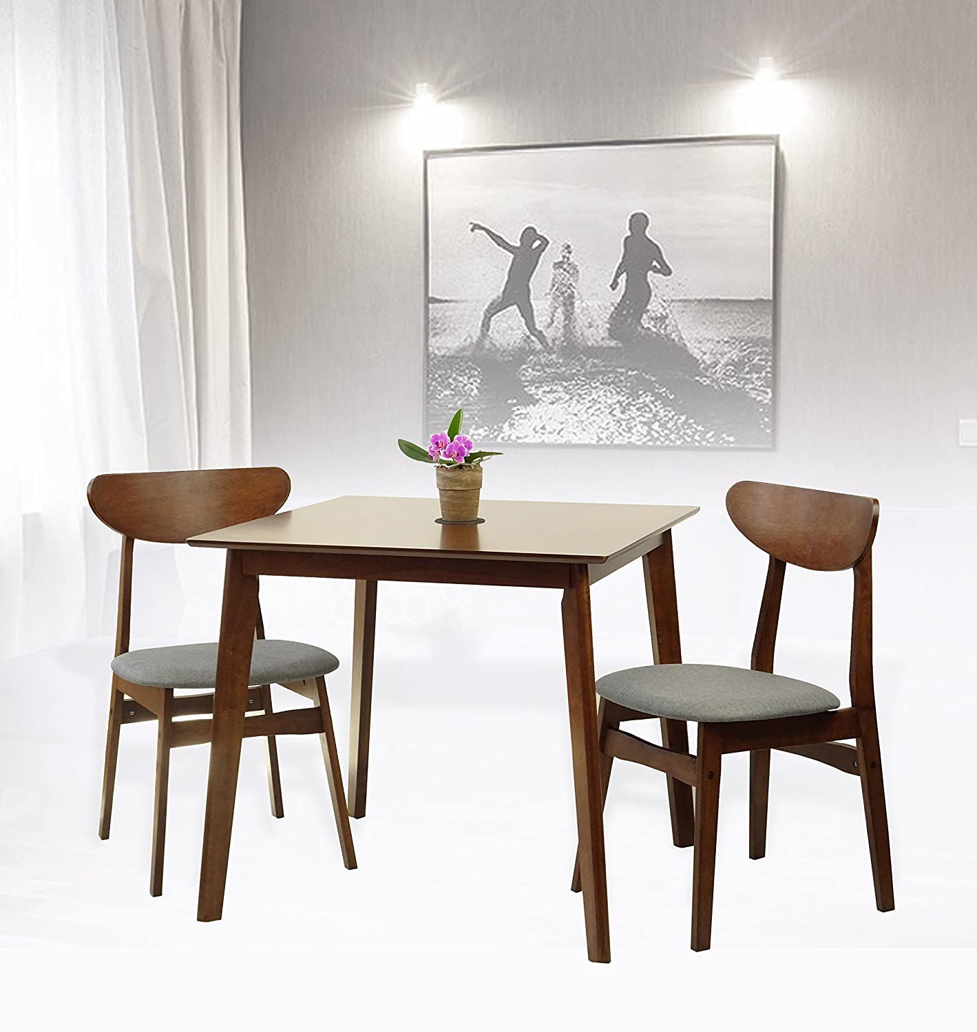 Rattan Wicker Furniture Set of 3 Dining Kitchen Square Table and 2 Yumiko Side Chairs Solid Wood w/Padded Seat Medium Brown Finish