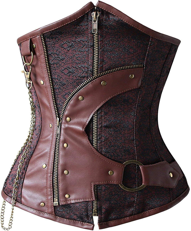 motaierly Womens 12 Spiral Steel Boned Steampunk Fashion Underbust Corset Top