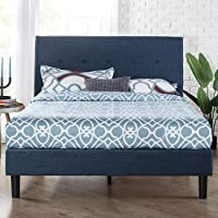 Zinus Omkaram Double Upholstered Fabric Bed Frame   Button Detailed Bed Head, Metal Frame, Strong Wood Slat Support…