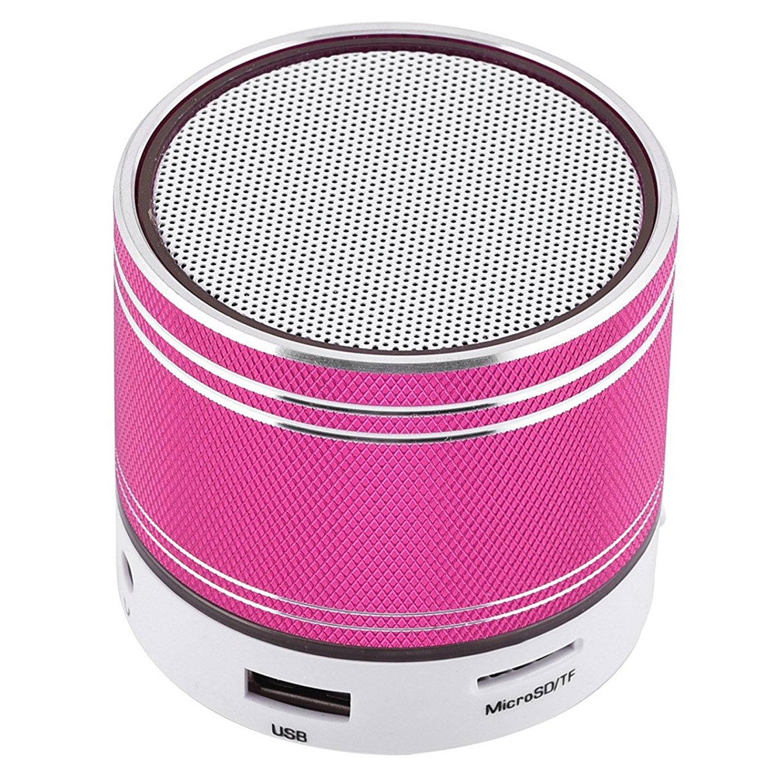 Small Bluetooth Speaker Universal Stereo Sound Speaker Wireless Handsfree Call Desktop Speaker for Android Samsung Galaxy S9 S8 Plus S7 S6 S5 iPhone X 8 7 6 6S 5S 5C Nexus Motorola Laptops PC Hotpink