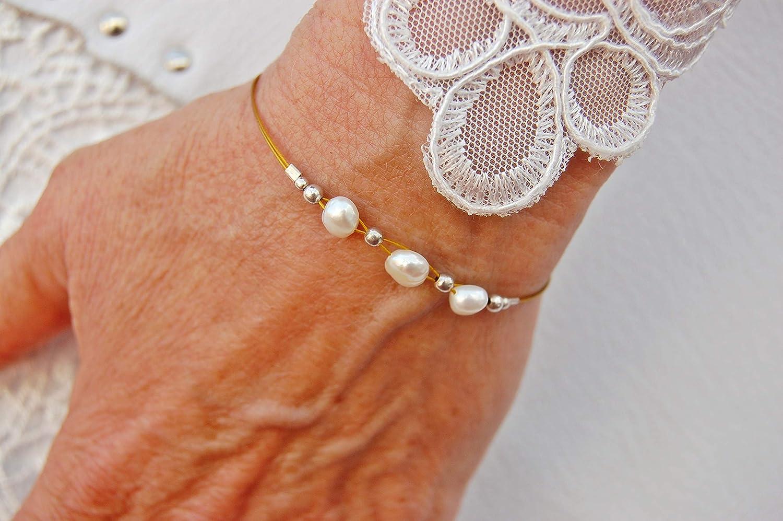 Pulsera de Plata 925 y Perlas de Río: Modelo Perla Plata. Talla; 16,50 cm