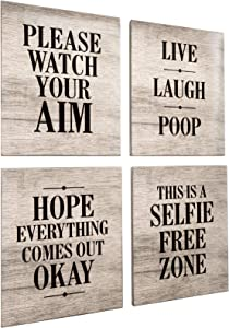Excello Global Products Wooden Bathroom Humor Signs : Decor for Home, Restaurant, or Business - 8x10 Inches - Ready to Hang - (Pack of 4, Assortment 2)
