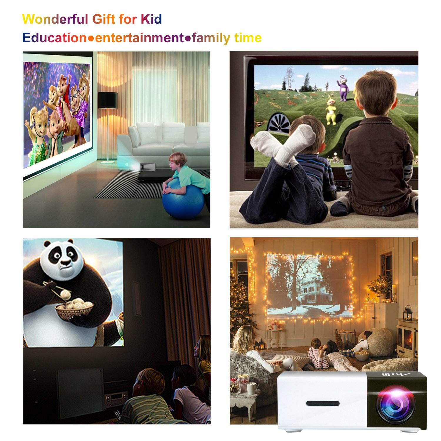 Pico Projector, Artlii Movie iPhone Mini Pocket Laptop Smartphone Projector for Home Cinema Video Party - Black&White by ARTlii (Image #6)