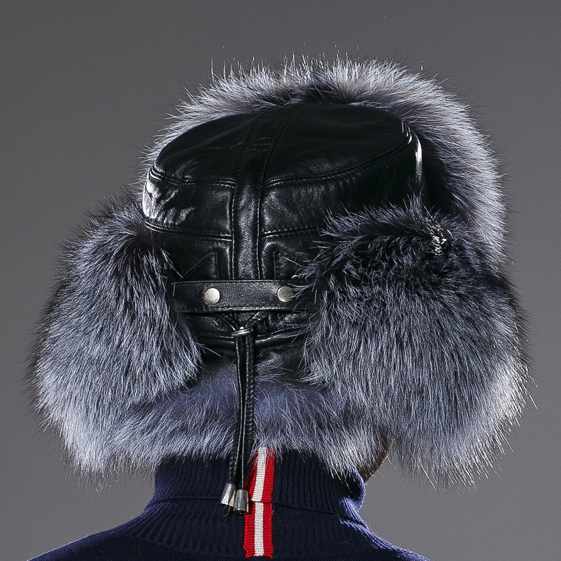 URSFUR Winter Russian Fur Hat Mens Real Silver Fox Fur Ushanka Trapper Cap by URSFUR (Image #5)