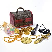 Kids Pirate Pretend Toys Set,Pirate Treasure Party Favors Set & Accessories Set with Telescope and Eye Patches for Kids…