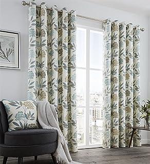 Lime & Brown pair of Eyelet Taffeta Curtains 90