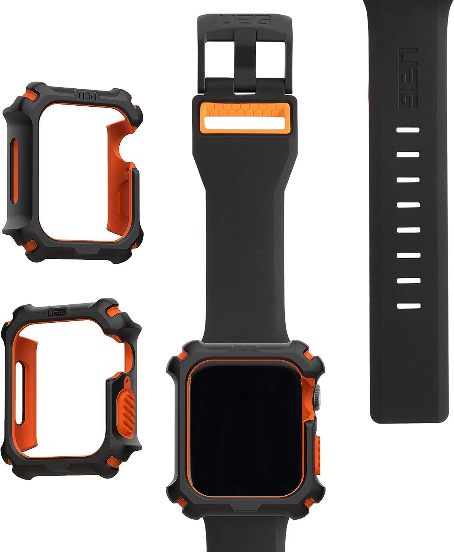 UAG Apple Watch Band 44mm 42mm, iWatch Series 6/5/4/Watch SE Replacement Strap, Civilian Black/Orange + Apple Watch Case 44mm, iWatch Series 6/5/4/Watch SE Protective Bumper Case, Black/Orange