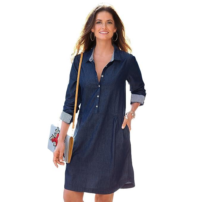 VENCA Vestido Cuello Camisero con Tapeta de Botones hasta el Corte Fruncido - 013357,Azul