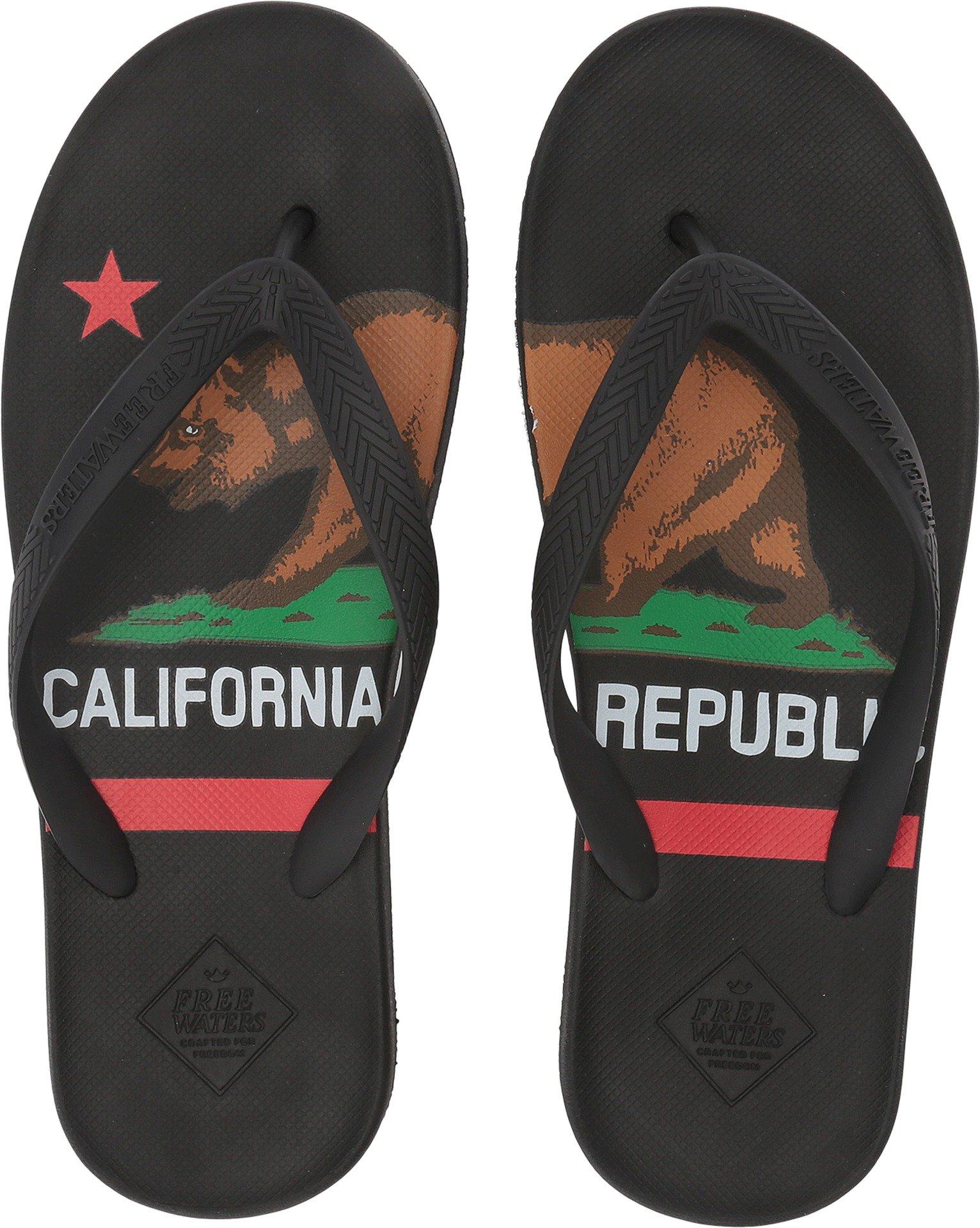 Freewaters Men's Archie Lightweight Vegan Water-Friendly Flip Flop Arch Support Geta and Zori Sandal, California Dreamin, 10 Medium US