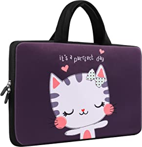 ICOLOR Lovely Kitty 9.7 10 Inch Laptop Carrying Bag Neoprene eBook Bag Travel Briefcase Portable Notebook Tablet Sleeve Case with Handle Fits 10 Inch Dell Google Acer HP Lenovo Asus (IHB10-18)
