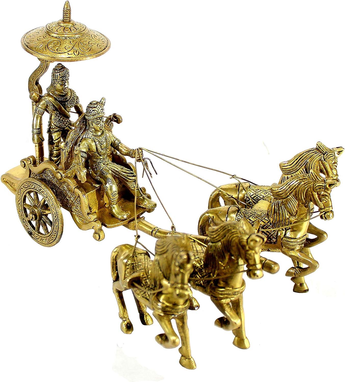 eSplanade Krishna Arjuna Rath Chariot with 4 Horses Brass Showpiece | Home Decor | Krishna Arjun Updesh | Gita Saransh