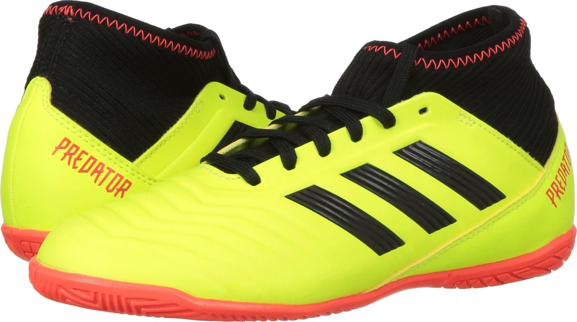 adidas Unisex-Kids Predator Tango 18.3 Indoor Soccer Shoe, Solar Yellow/Black/Solar Red, 4 M US Big Kid
