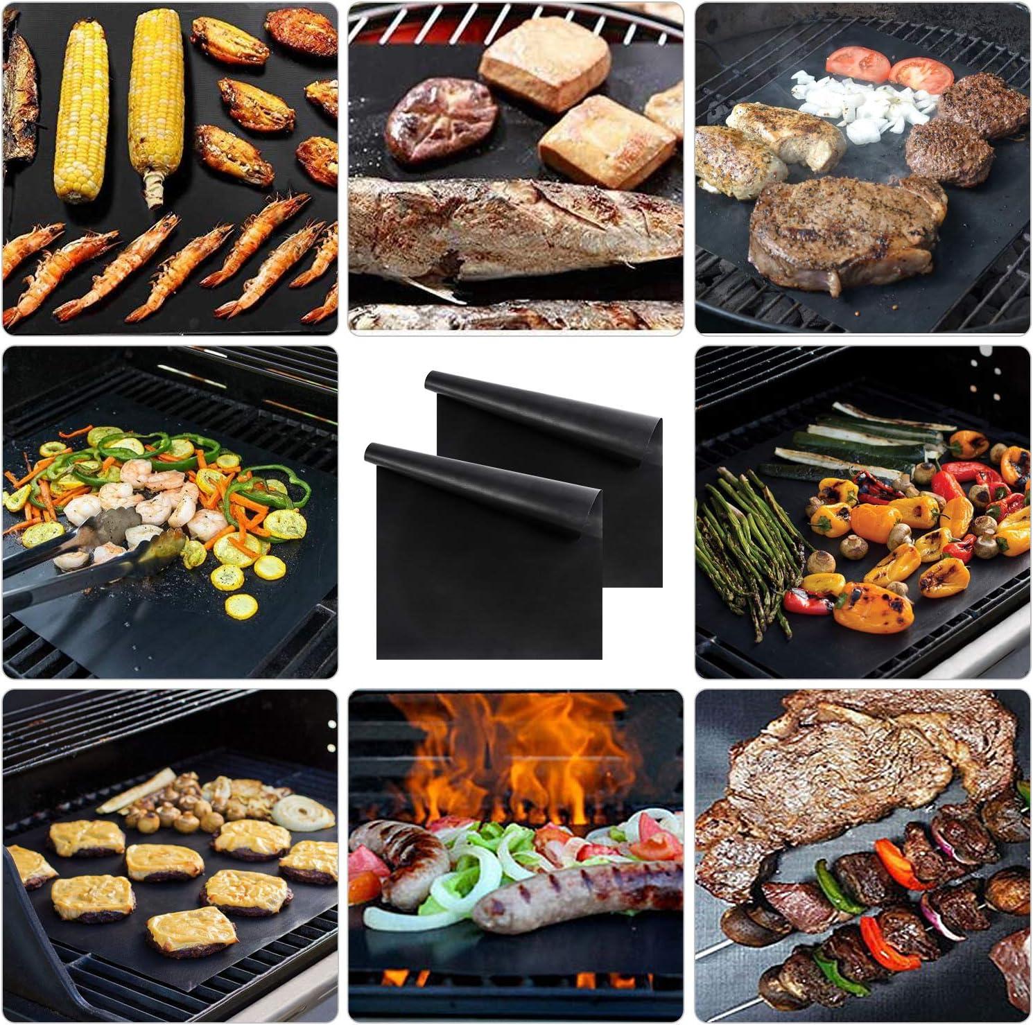Oxford Street 7er set Stuoie Barbecue Antiaderente Riutilizzabili Senza-PFOA Resistente al Calore per Gas 5er+Spazzola+clip//40*33cm Forno e Carbone per Carne Pesce Verdure Tappetini per Barbecue
