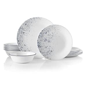 Corelle 18-Piece Service for 6, Chip Resistant, Indigo Speckle Dinnerware Set
