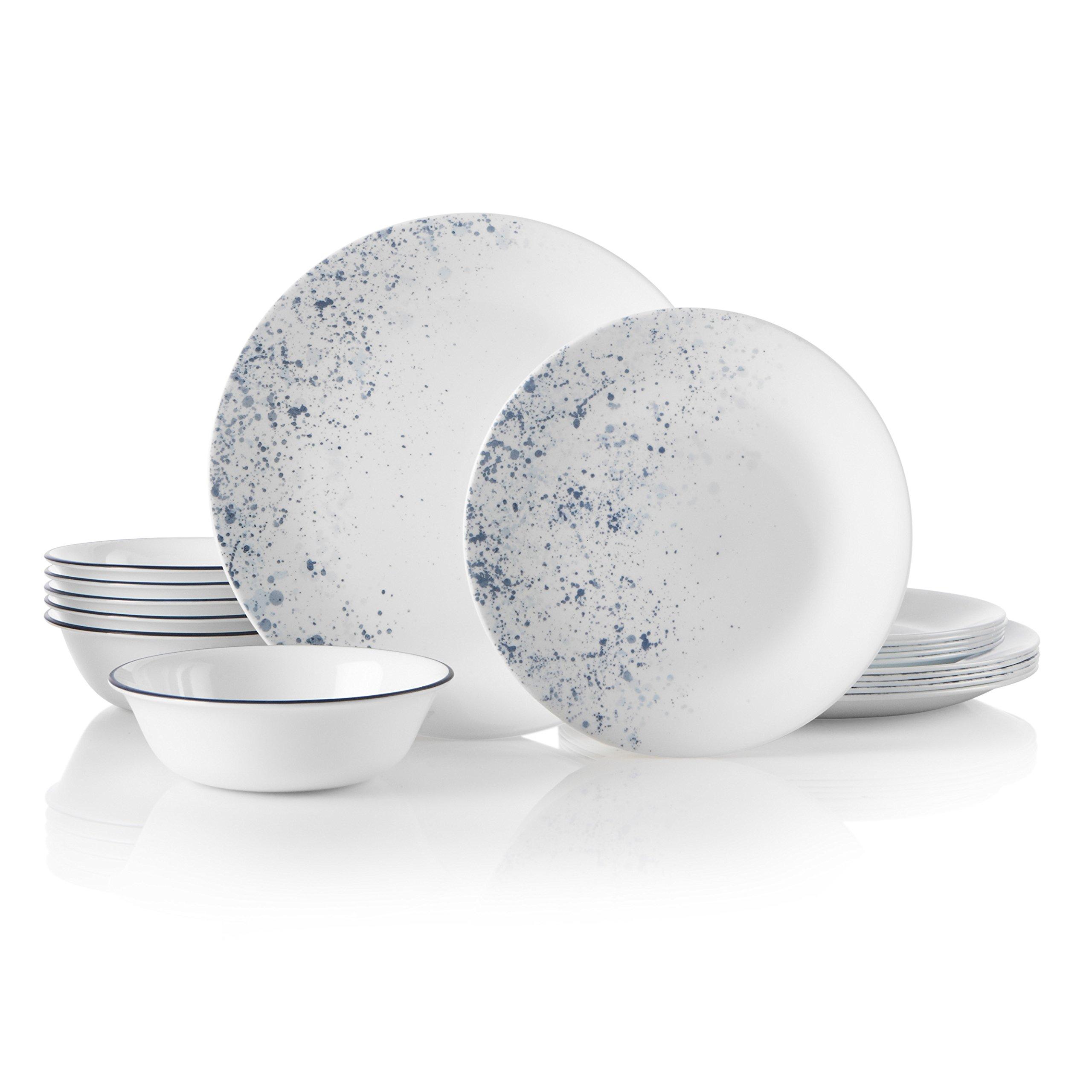 Corelle 18-Piece Service for 6, Chip Resistant, Indigo Speckle Dinnerware Set,